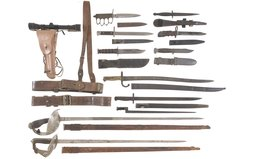 Group of Assorted Military Style Edged Weapons and Firearm Acces