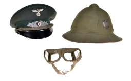 Two Pieces of Assorted German Style Military Headgear w/ Goggles