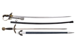 Two German Military Style Swords with Scabbards