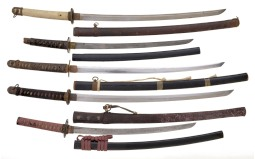 Five Japanese Style Swords with Scabbards.