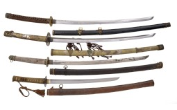 Four Japanese Style Swords with Scabbards