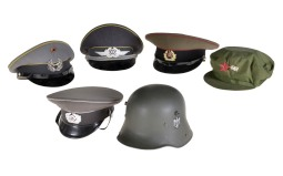 Five Hats and One German Style Helmet