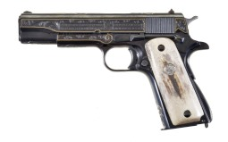 Engraved and Gold Inlaid Colt 1911A1 Semi-Automatic Pistol