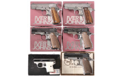 Six Semi-Automatic Pistols -A) Iver Johnson Pony Pistol with Box