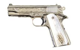 Engraved Colt Combat Commander Semi-Automatic Pistol