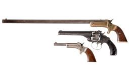 Three Handguns -A) Stevens Tip Up Single Shot Pistol