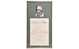 Framed Photo and Signed Letter Attributed to Nazi Officer
