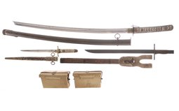 Assorted Japanese Military Edged Weapons and Accessories