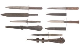 Group of Five German and Brittish Fighting Knives