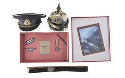Grouping of European Military items and a Framed Picture