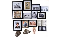 Two Military Style Helmets and Assorted Framed Prints