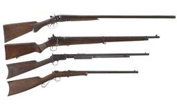 Group of One Shotgun and Three Rifles