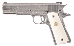 Engraved Colt Government Series 70 Semi-Automatic Pistol