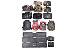 Assorted Range Bags Backpacks and Three Hard Plastic Rifle Cases