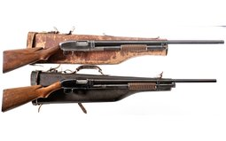 Two Winchester Slide Action Shotguns with Mutton Cases