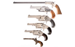 Six Handguns -A) Stevens Model 43 Single Shot Pistol