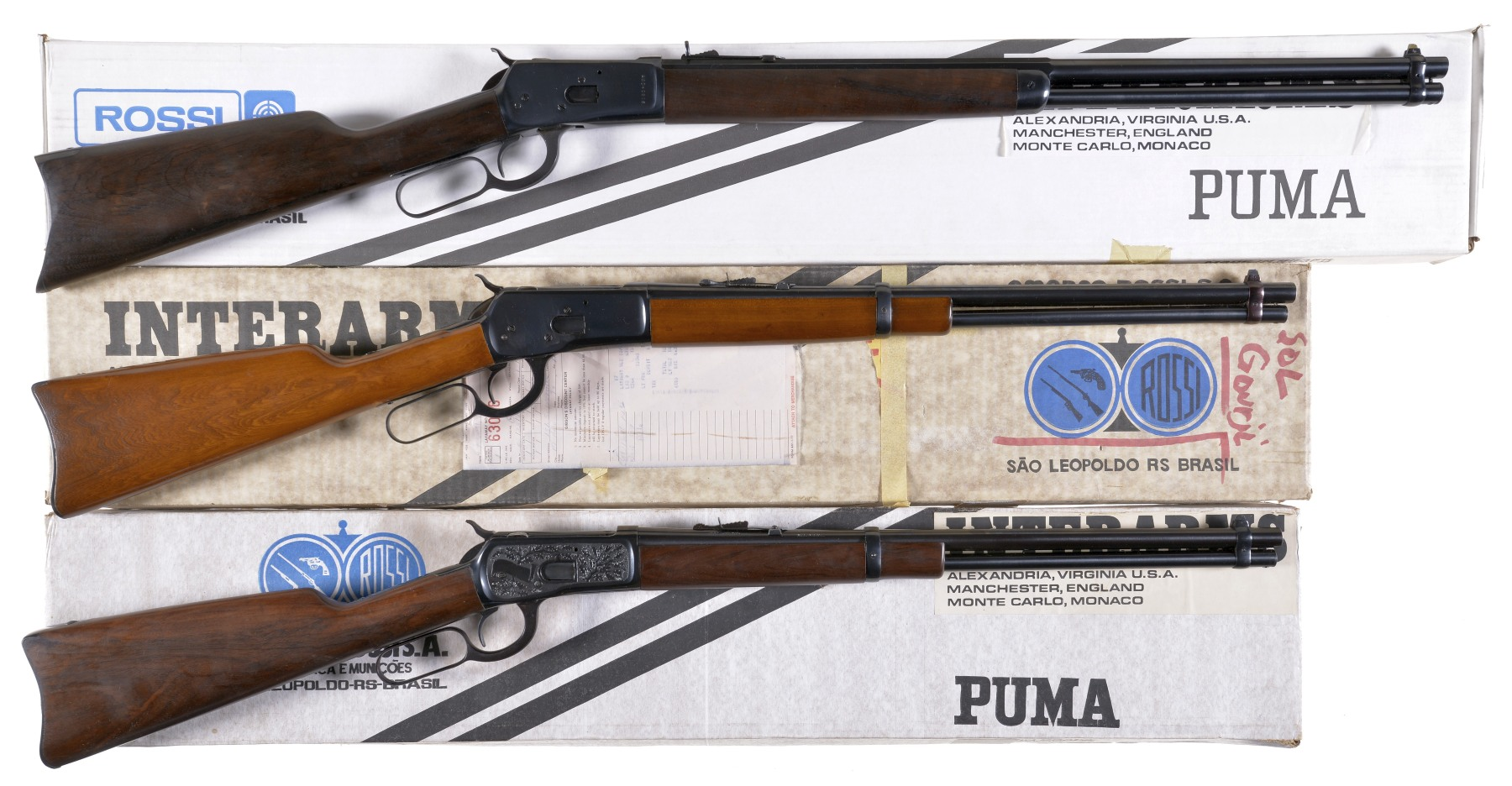 Three Lever Action Long Guns with Boxes -A) Rossi Model 92 Rifle