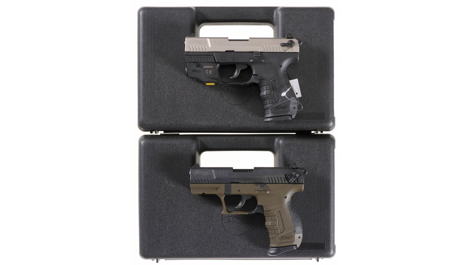 two walther p22 semi automatic pistols w cases