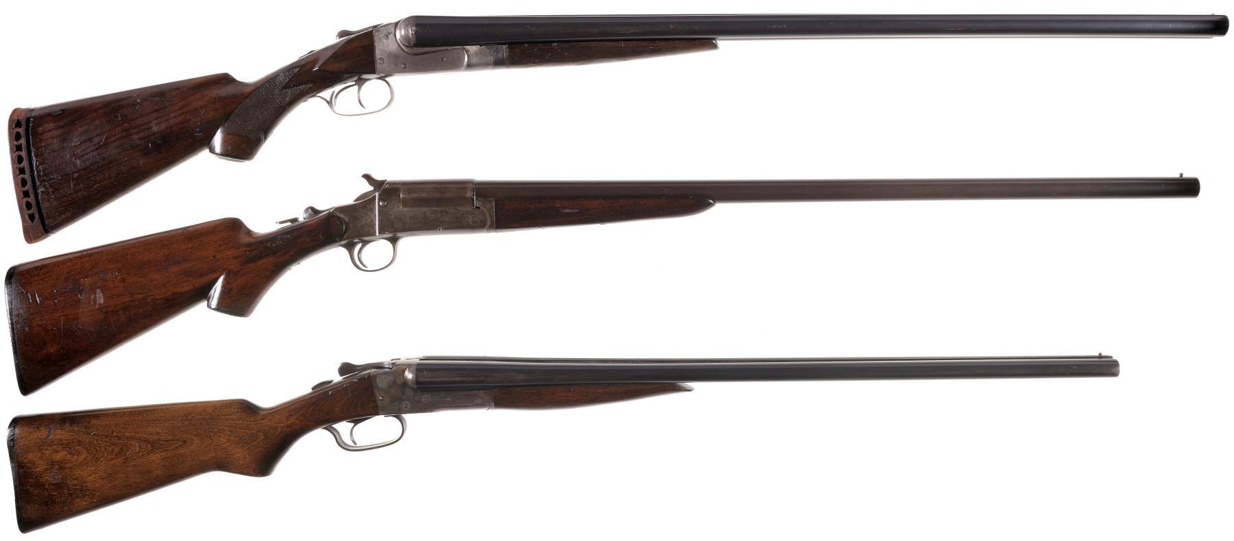 Three Shotguns -A) Ithaca Hammerless Double Barrel Shotgun