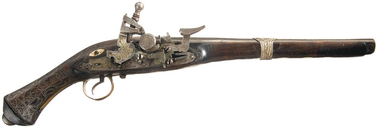 mediterranean snaphaunce pistol with silver and ivory