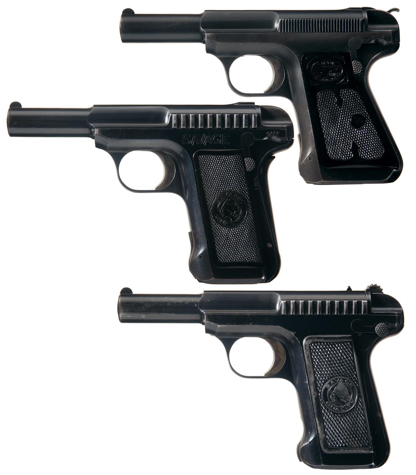 Three Savage Semi-Automatic Pistols
