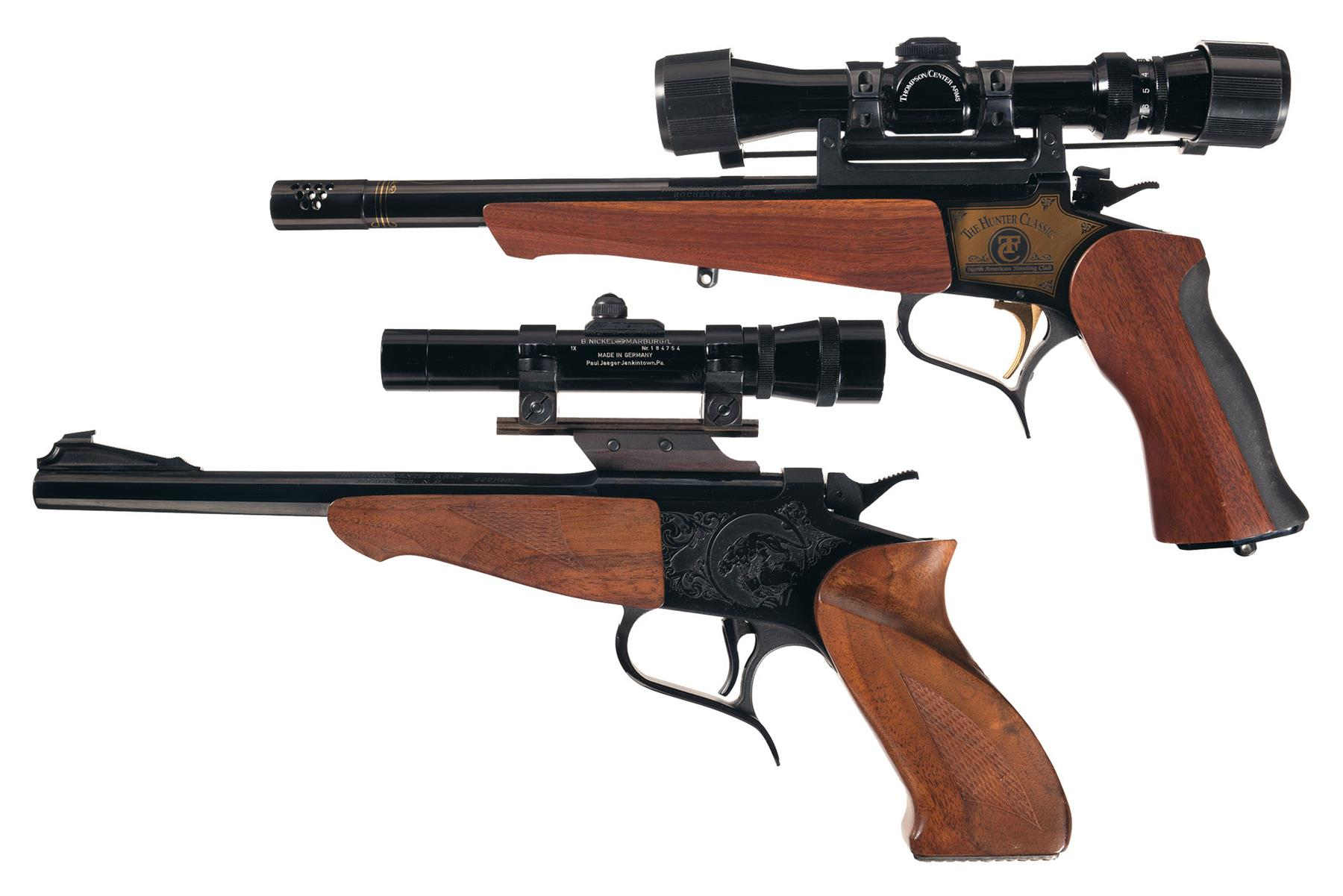 Two Thompson Center Arms Single Shot Pistols