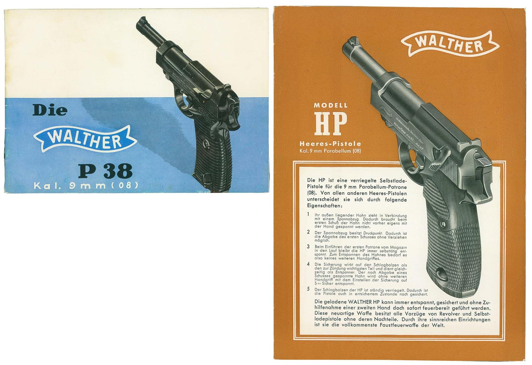 original pre war walther hp brochure and walther pistol manual rh rockislandauction com
