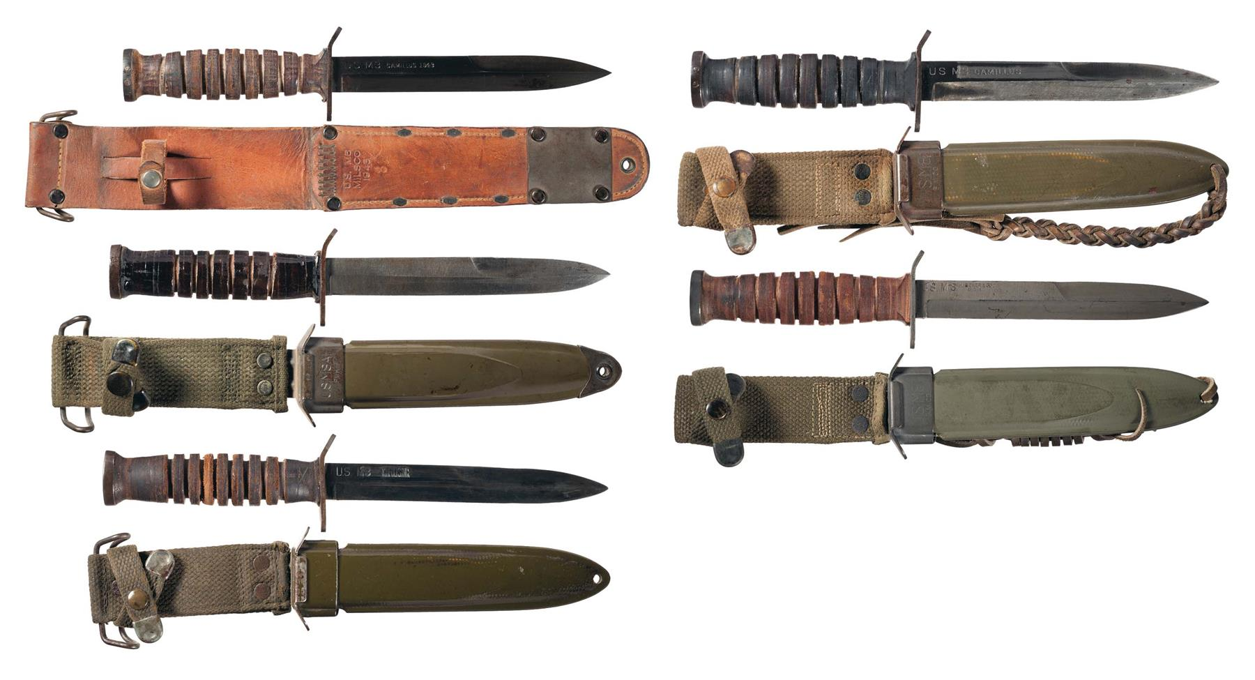 Five U S  M3 Fighting Knives with Sheaths