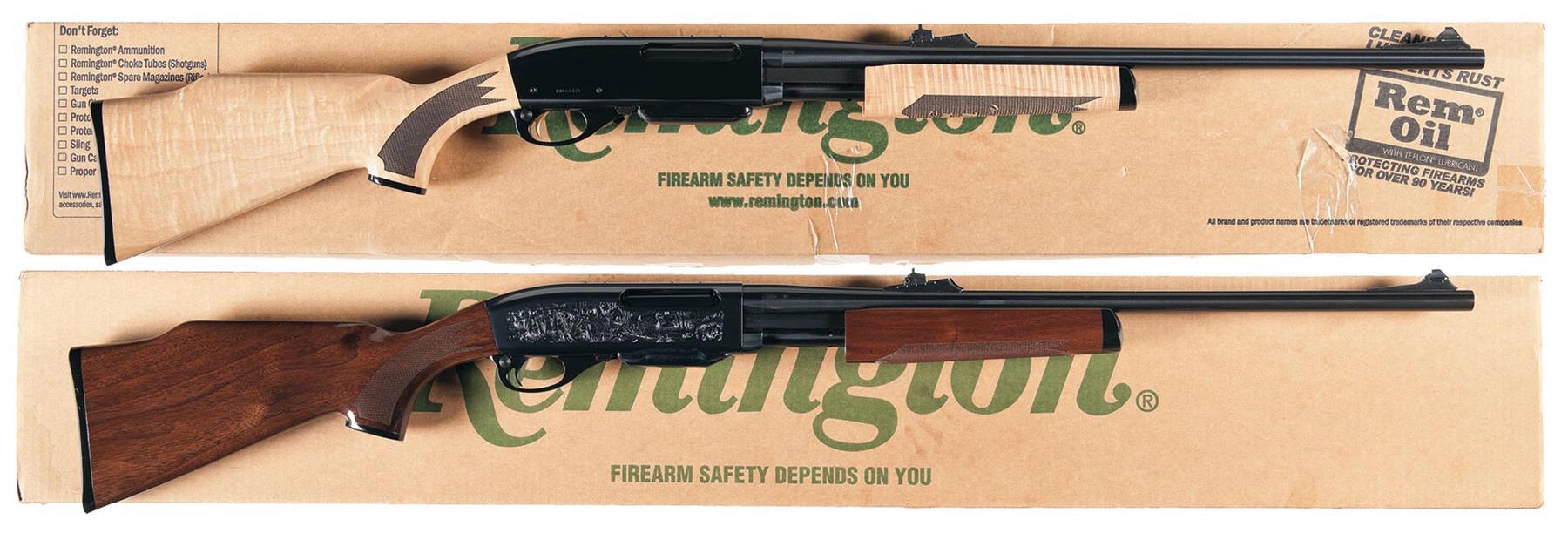 Two Boxed Remington Model 7600 Slide Action Rifles