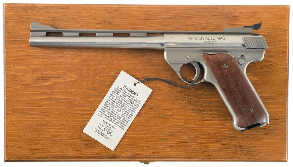 amt baby automag semi automatic pistol with case