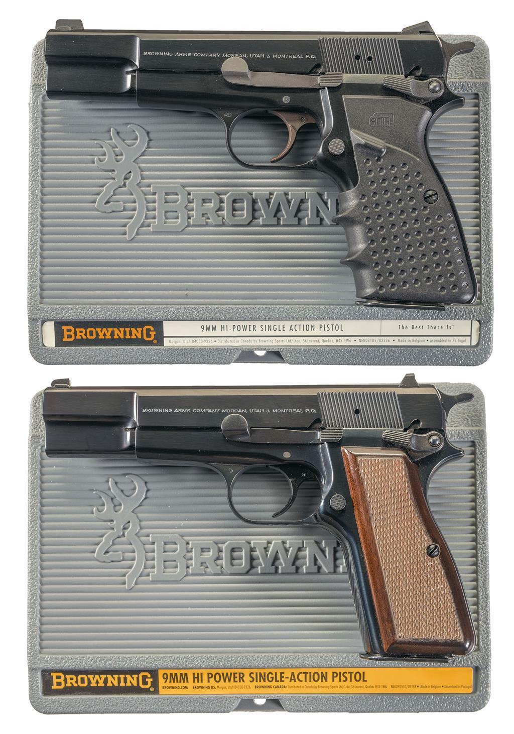 Two Browning Hi-Power Semi-Automatic Pistols w/ Cases