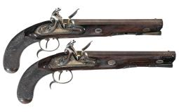 Desirable Pair of Barnett Flintlock Dueling Style Pistols w/ Gol