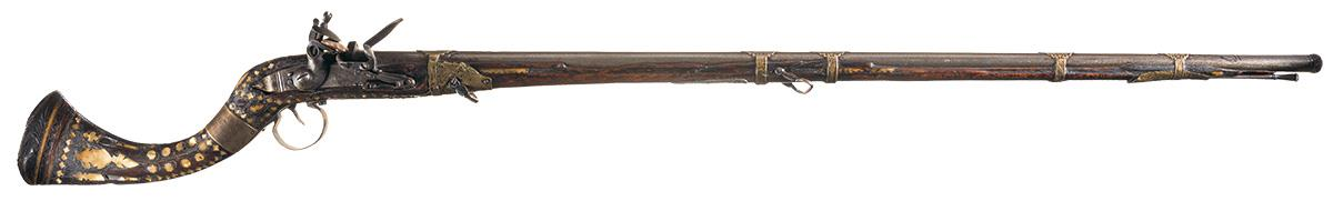 Afghan Style Jezail Flintlock Musket With Heavily Inlaid
