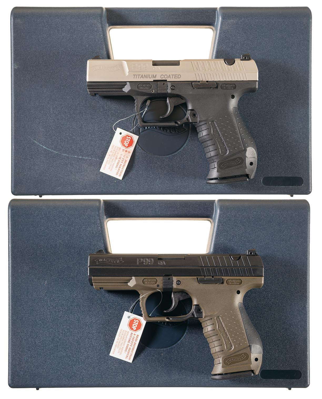 Two Walther Semi-Automatic Pistols w/ Cases
