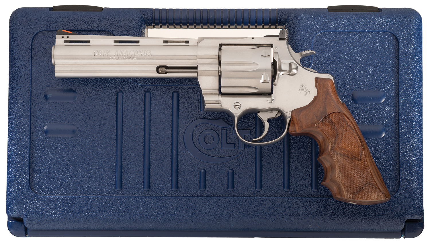 Stainless Steel Colt Anaconda Double Action Revolver with Case
