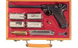 Long Barreled DWM Swiss Sunburst 1906/20 Luger with Case