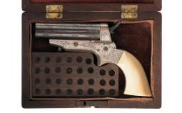 Cased and Factory Engraved Sharps Model 2A Four Barrel Pistol
