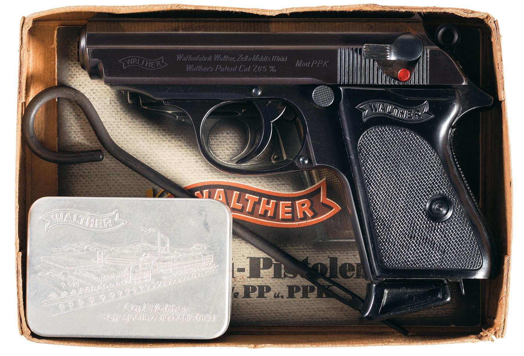 Pre-War Walther PPK with PP Walther Box Manual and Accessories
