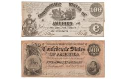 Confederate $100 and $500 Notes