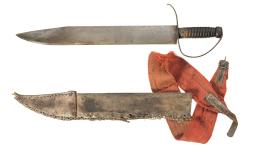 Large and Impressive Confederate D-Guard Style Bowie Knife with