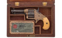 Cased Factory Engraved Colt Cloverleaf House Model Revolver