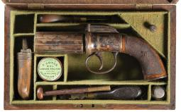 Cased British Double Action Percussion Pepperbox Revolver
