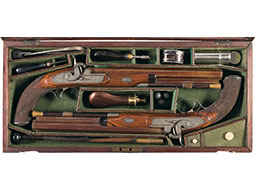 Cased Pair of Finely Engraved Large Caliber J.D. Dougall Pistols