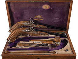 Fantastic Cased Pair of Zaoue Percussion Pistols