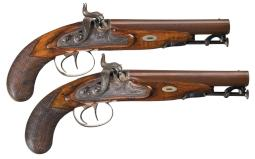 Pair of W. & S. Rooke Engraved Double Barrel Percussion Pistols