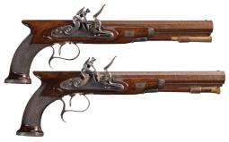 Desirable Pair of Southall Saw Handle Flintlock Dueling Pistols
