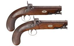 Pair of D. Egg Back Action Percussion Pistols