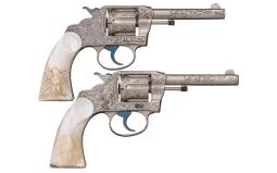 Pair of Cuno A. Helfricht Factory Engraved Colt Police Revolvers