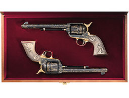 Two L. Kelly Engraved Gold Inlaid Colt Single Action Revolvers