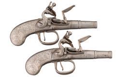 Pair of Devillers Silver Stocked Queen Anne Flintlock Pistols